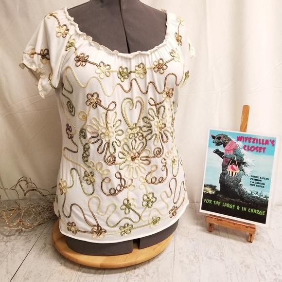 Lauren Michelle Tops - XL Lauren Michelle Top - Embroidered Embellishment